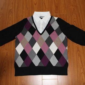 Argle Sweater 3/4 Sleeve